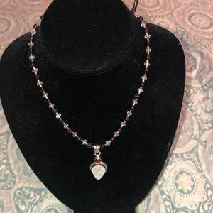 Jewelry - Sterling Moonstone and garnet pendant necklace